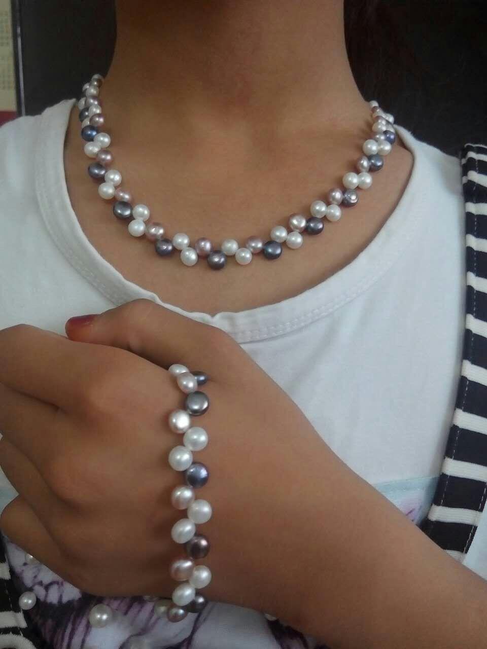 autentico set raffinato SOUTH SEA Affascinante bracciale con collana di perle grigio rosa bianche