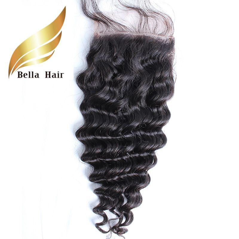 Peruwiański Dziewiczy Włosy Walki Zamknięcie Remy Ludzkie HairlaceClosure Darmowa część Deep Wave Natural Color Szybka Dostawa Bellahair