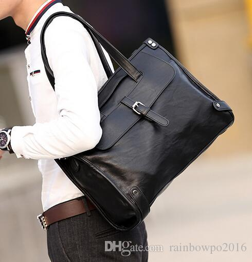factory sales brand new leather handbag bag Korean men fashion business men fashion soft leather briefcase Travel Backpack