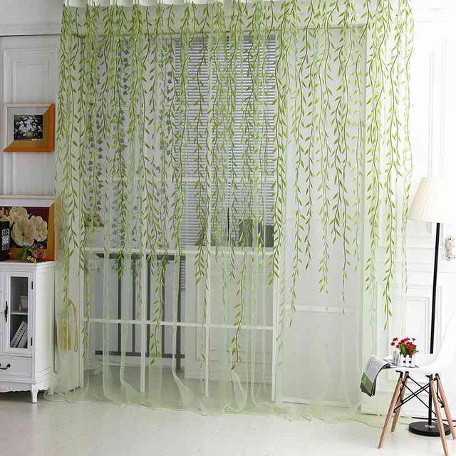 Atacado-Hot 1M * 2M Quarto Willow Padrão Voile Janela Cortina Sheer Painel Drapes Scarfs Curtain Green
