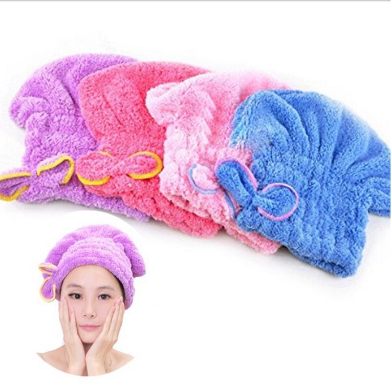 Venda por atacado- Womens Girls Lady Magia Secagem rápida banho de cabelo toalha de cabeça envoltório chapéu de maquiagem cosméticos Cap Bathing Tool EJ877822