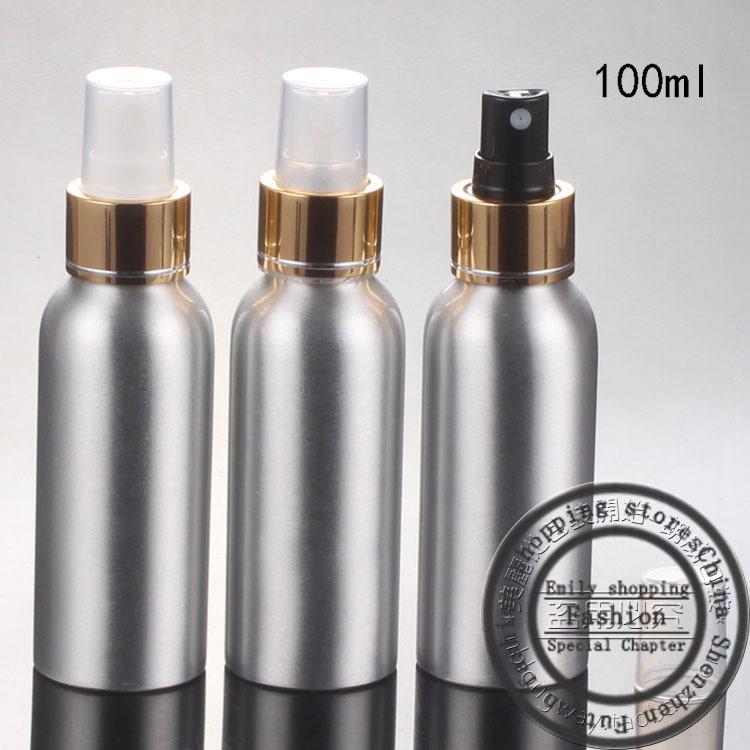 Новый, 30 шт., 100 мл алюминиевая бутылка + яркое золото тангенциальные сопла, спрей тонкий туман флаконы для духов, многоразового бутылки