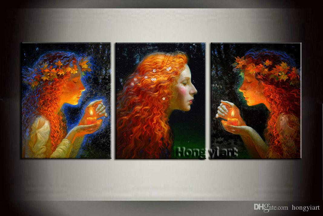 3 Panel Gift Large Modern Contemporary Fantasy Mermaid Abstract Oil Painting HD Picture Giclee Print Wall Art Home Decor Printed Canvas at09