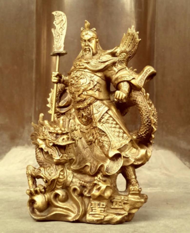 22cmChinese البطولية قوان قونغ يو البرونزية المحارب الله السيف الوقوف في تمثال التنين