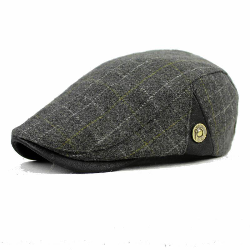 VORON Mens Wool Newsboy Hat Flat Top Cap Cabbie Cap Ivy Driving Hat Cotton Beret