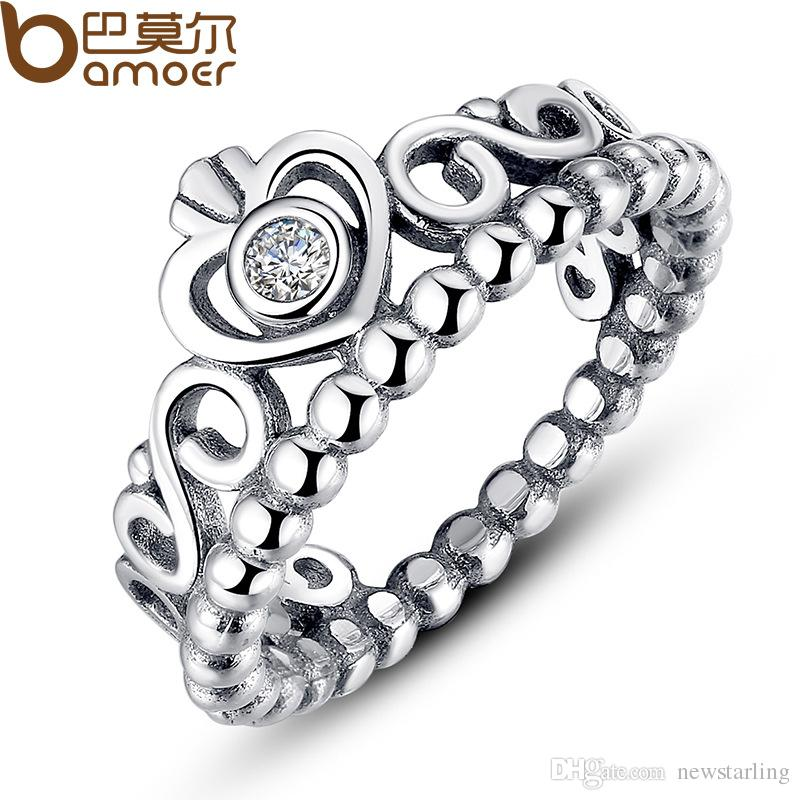 Hot Sale 925 Silver Crown Wedding Rings For Women Pandora Style Princess Rings Tiara Crown Wedding Engagement Ring For Lady Fashion Jewelry