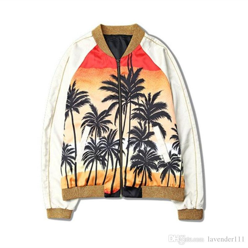Fashion Justin Bieber Jacket Men Women Fashion Hawaii Skateboard Coconut tree baseball jacket Hip Hop Outerwear MA1 Coat