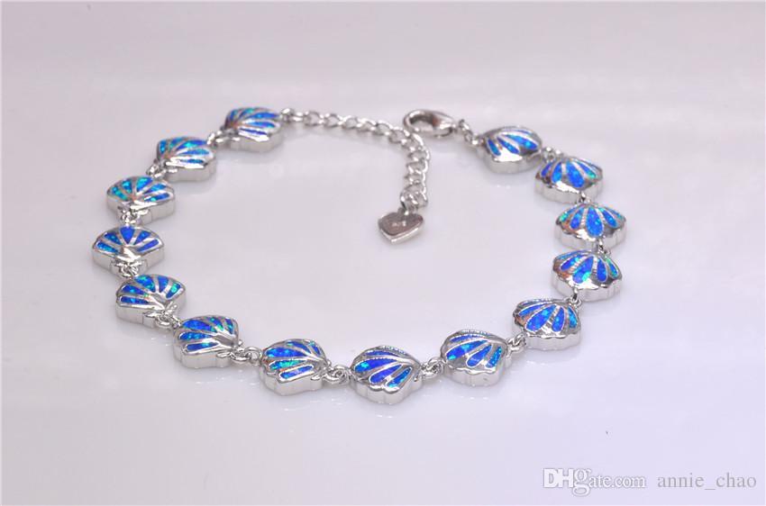 Vendita al dettaglio all'ingrosso Moda 7.0 pollici Fine Blue Fire Opal Bracelet 925 Sterling Jewelry BNT16022709