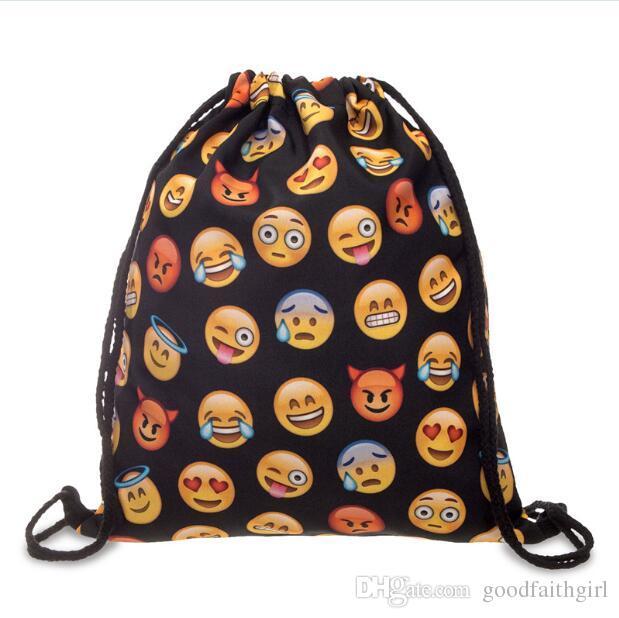 10pcs Fashion oxford smiley emoji Drawstring Bag colleage bags backpacks travel knapsack sport bag by goodfaithgirl free shipping