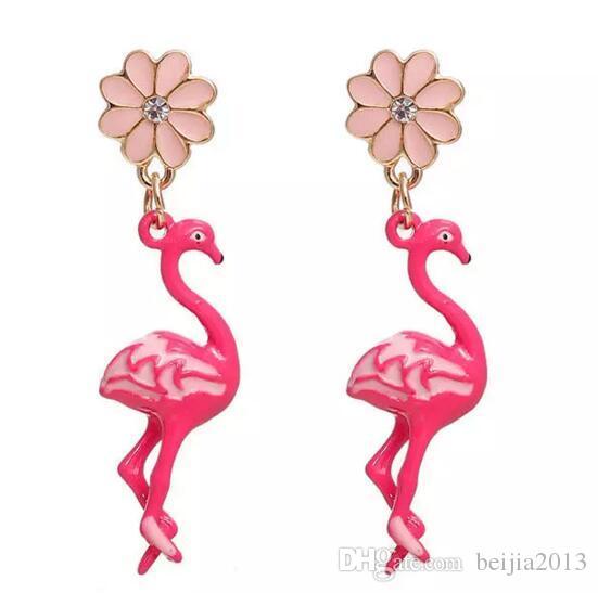 Бесплатная Доставка! Серьги золотой цвет розовый цветок фламинго ясно горный хрусталь эмаль 47*11 мм сообщение/ провод размер: (21 Калибр), 1 пара Рождество