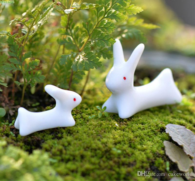 10pcs ( 5 x large + 5 x small ) Rabbit terrarium figurines miniature toy animals bonsai decoracion jardin de hadas gnomes