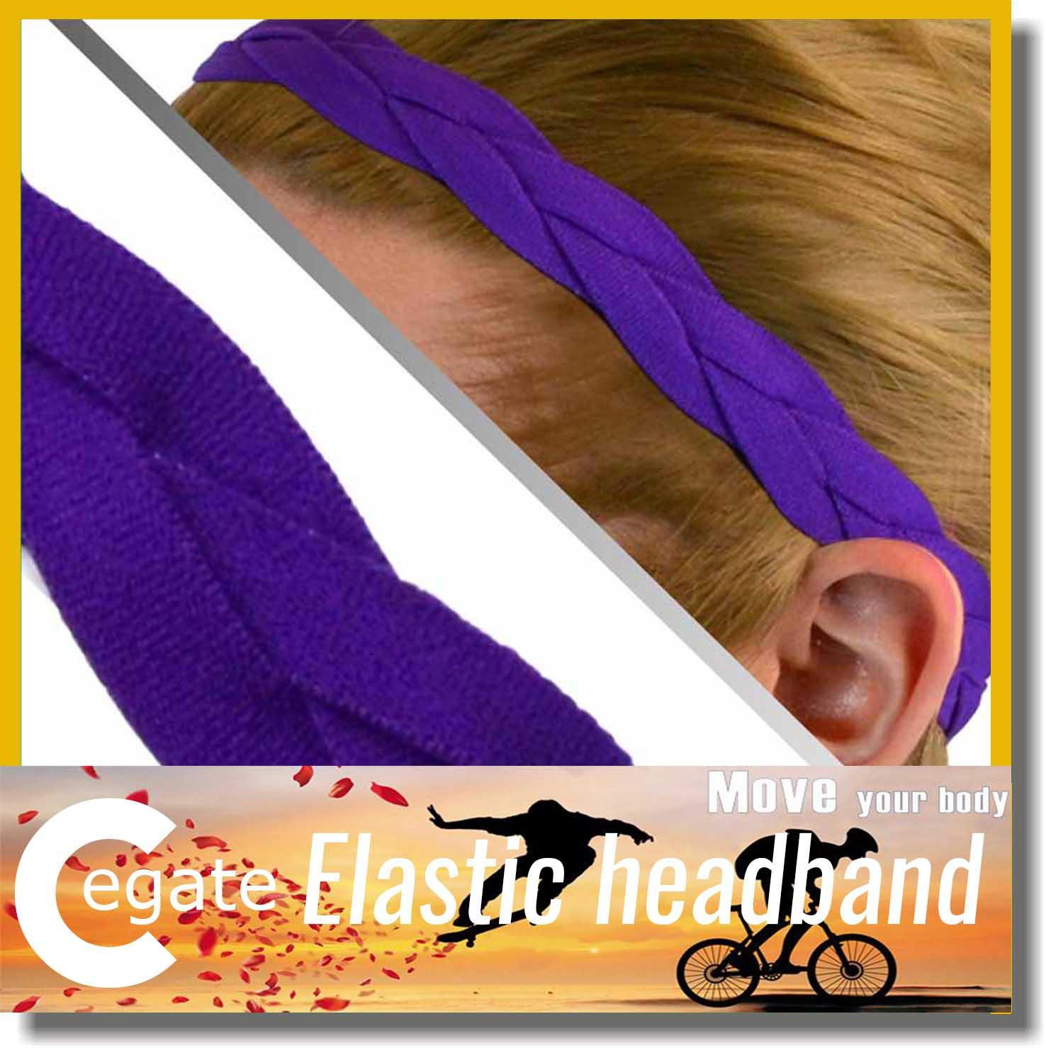 Wholesale outdoor sport headband different colored elastic weave braided headband for women free shipping