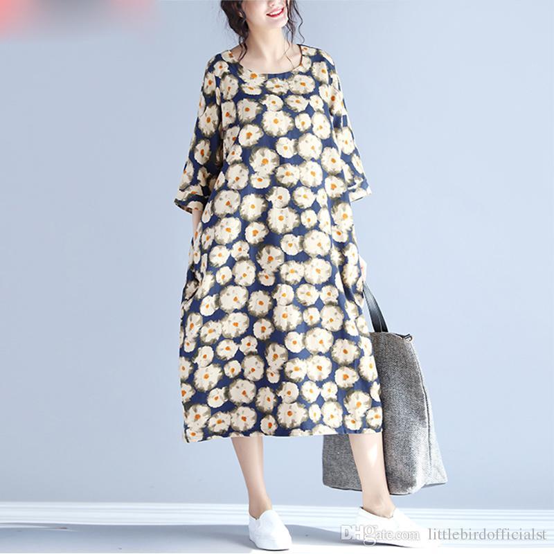 Verão plus size mulheres dress impressão floral de linho feminino casual vestidos tamanho grande retro novos vestidos fit 100 kg roupas de bolso