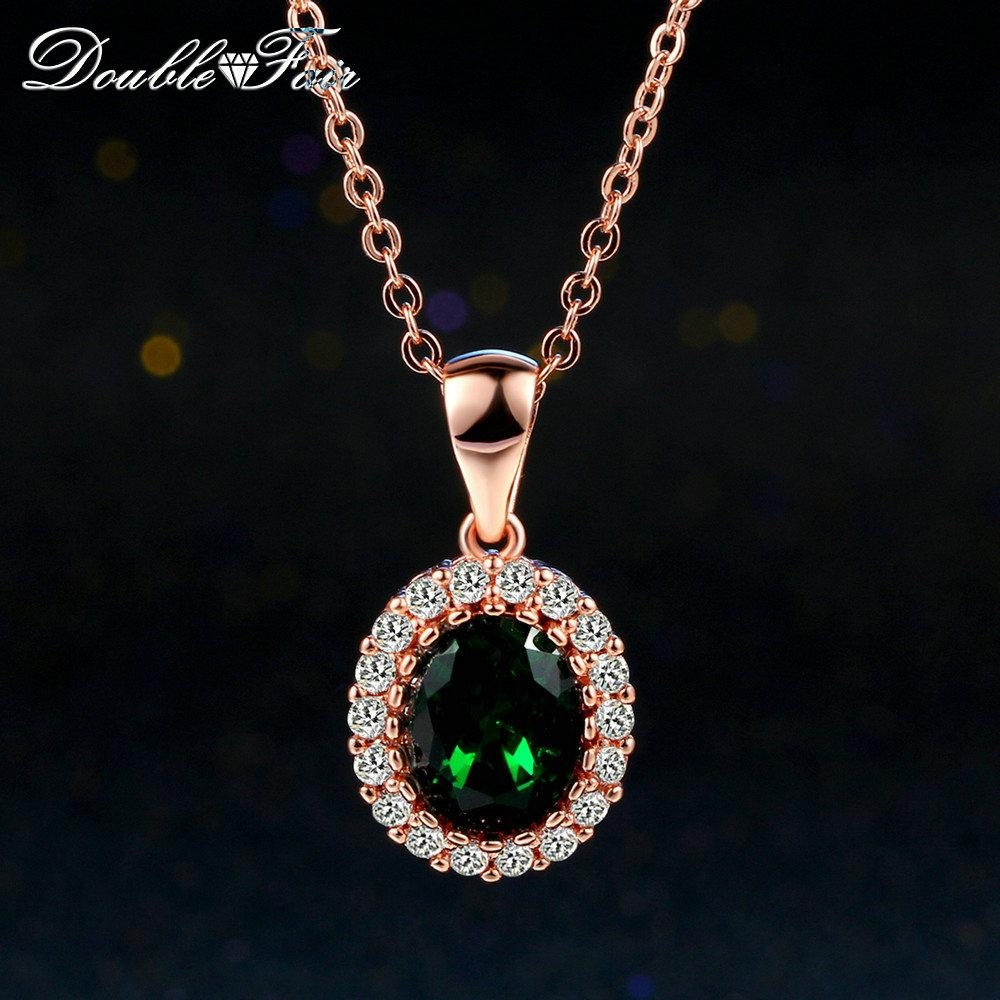 Imitation émeraude élégant Colliers Pendentifs en or rose 18 carats cipé cristal vert de la mode de mariage CZ diamant bijoux pour Wonem / filles DFN247