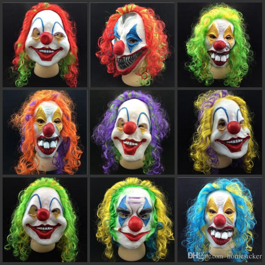 Nouveau Clown Masque Long Curl Cheveux Coloré Masque De Latex Carnaval Halloween Masque Masquerade Party Costume livraison gratuite