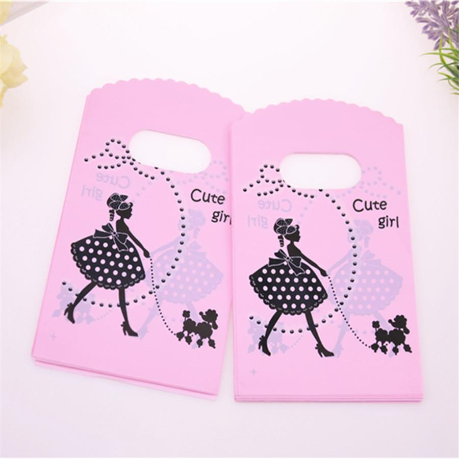 Hot Sale New Style Wholesale 50pcs/lot 9*15cm Pink Mini Plastic Shopping Bags With Cute Girl Birthday Gift Packaging Bags