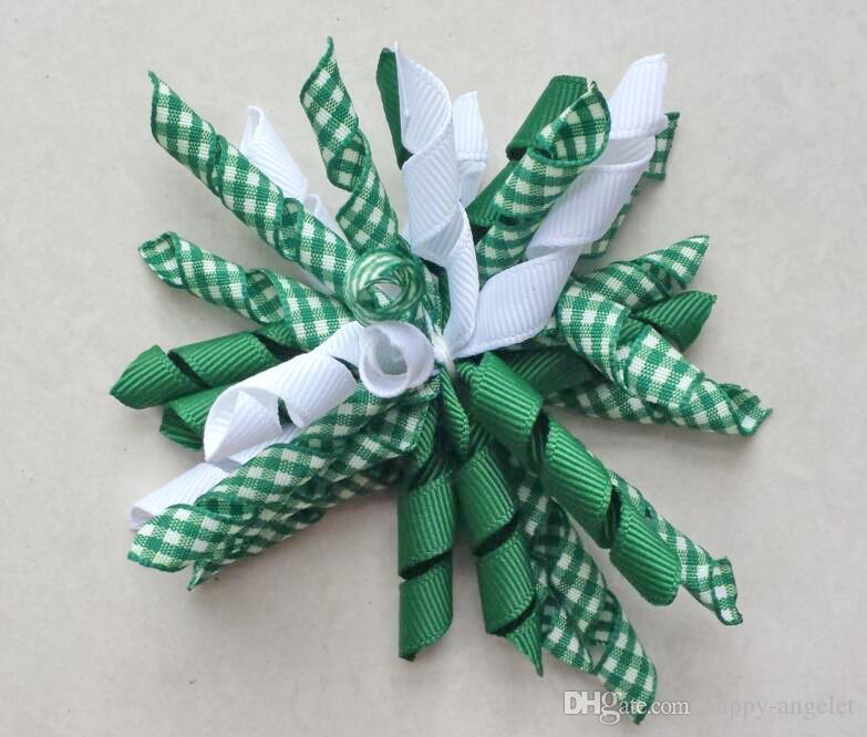 """70pcs Child baby Xmas 3"""" gingham korker curlers ribbon hair bows flowers clips corker hair ties bobbles Hairbands hair accessories PD007"""