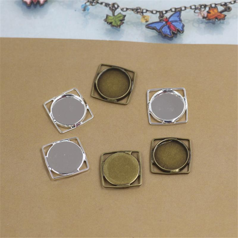 BoYuTe 40Pcs 12MM Cabochon Blank Tray Antique Bronze Silver Plated Cameo Cabochon Base Setting Diy Jewelry Findings