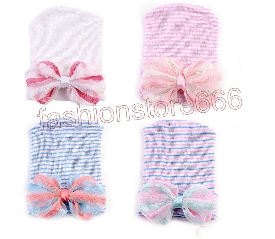 Newborn Baby Infant Toddler Girls Bow Flower Soft Hospital Cap Beanie Cute Hat