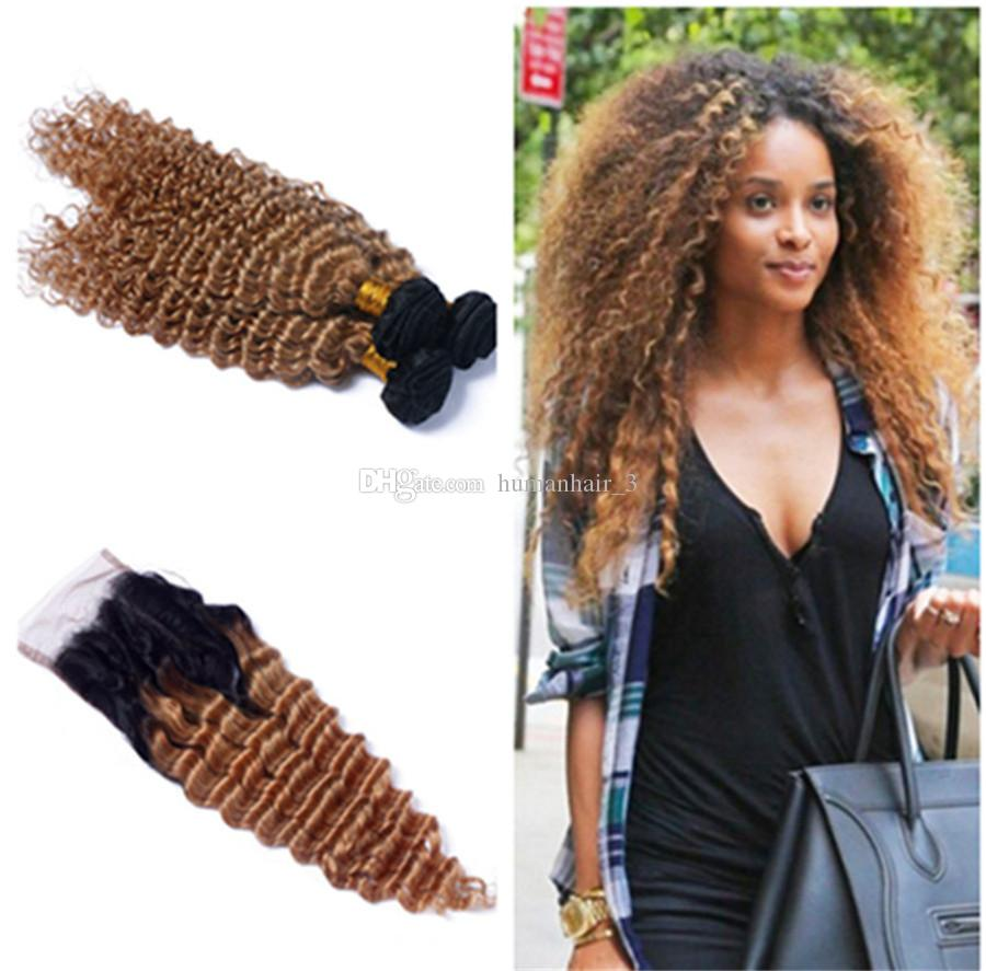 Two Tone 1B 27 Honey Blonde Dark Roots Ombre Human Hair Bundles With Lace Closure Ombre Brazilian Hair Deep Wave Curly With Closure