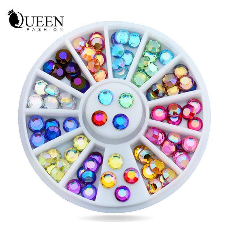 Yeni 5mm 72 adet Nail Art Renkli 3d Glitter AB Taklidi Tekerlek DIY Strass Boncuk Tasarım Tırnak Güzellik Süslemeleri