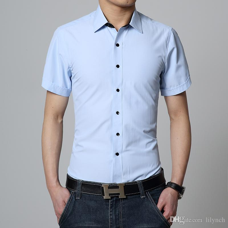 Summer Men/'s Short Sleeve Button Down Shirts Casual Formal Party Collar Tops New
