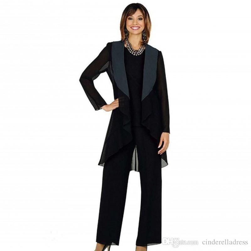 Cheap Mother of the Bride Pants Suit with Jacket 2020 Fall Long Sleeve Three Pieces Ankle Length Black Chiffon Wedding Guest Party Gowns