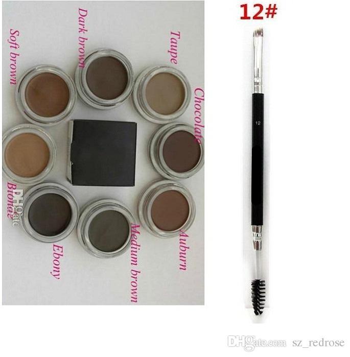 Помада средний коричневый водонепроницаемый бровей макияж 4г блондинка/шоколад/темно-коричневый/Черное/темно-рыжий/коричневый/Талпе против бровей +12#кисти