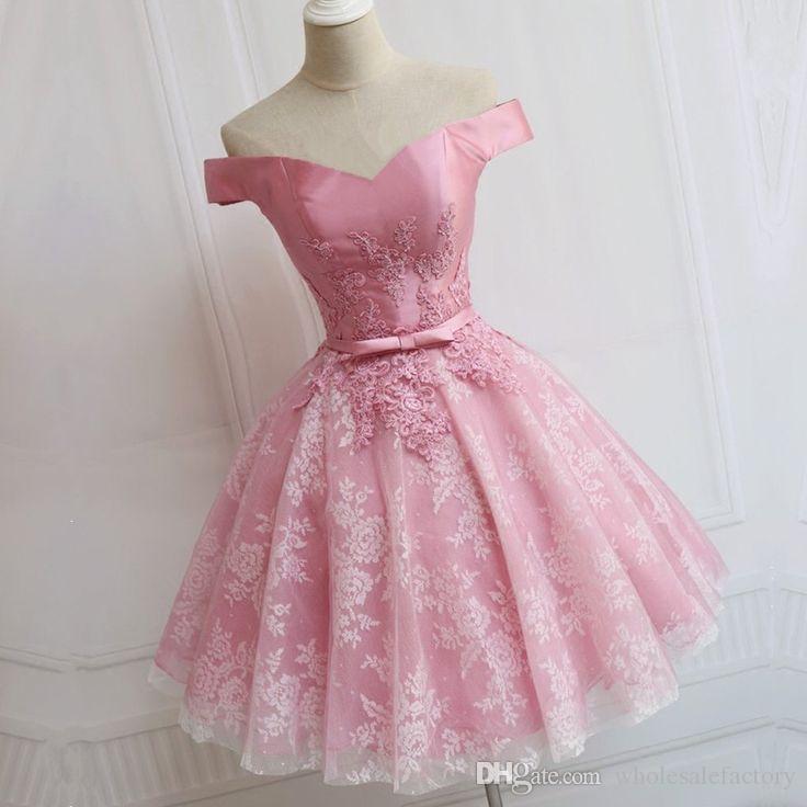 Sweet Pink Short Homecoming Robes Manches Courtes Sweetheart Courte Une Ligne Robes De Bal Avec Des Appliques Cocktail Party Robes 2017 Vente Chaude