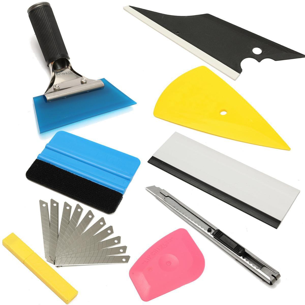 GPS Useful 8 Peices Auto Squeegee Scraper Applicator Car Window Tinting Installation Tools Kit
