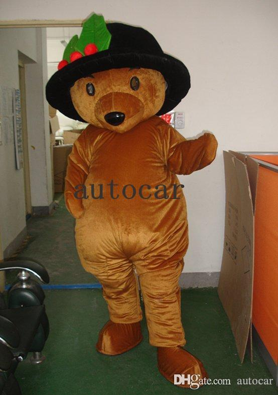 Brown black hat teddy bear Cartoon Character Costume mascot Custom Products custom-made free shipping