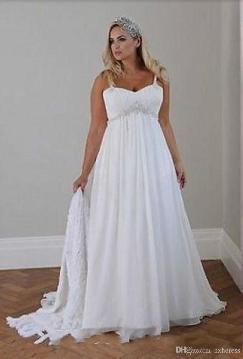 Discount 2018 New Plus Size Casual Beach Wedding Dresses Spaghetti Straps  Beaded Chiffon Floor Length Empire Waist Elegant Bridal Gowns 040 Photos Of  ...
