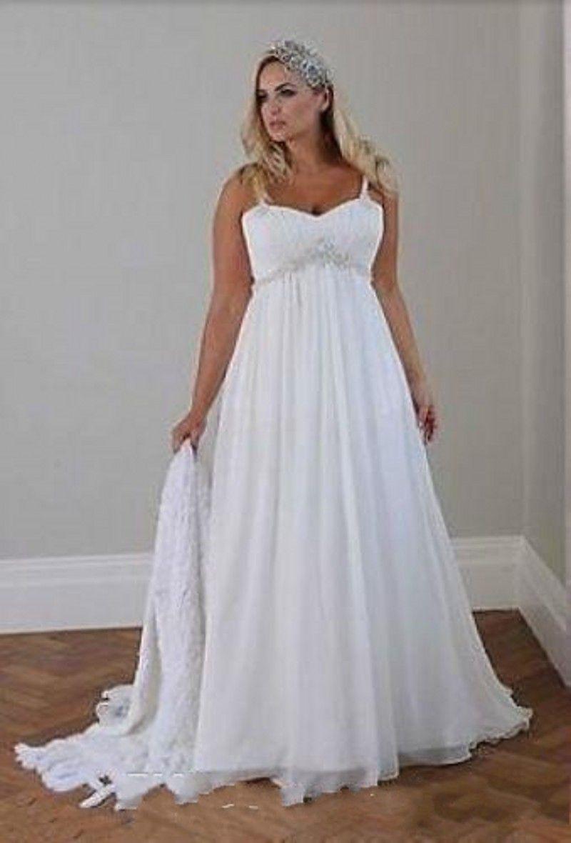 Discount 2019 New Plus Size Casual Beach Wedding Dresses Spaghetti Straps  Beaded Chiffon Floor Length Empire Waist Elegant Bridal Gowns 040 Photos Of  ...