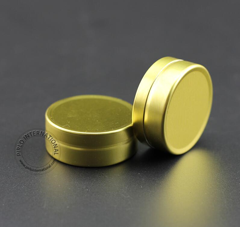 100 sztuk / partia Promocja 10g Krem aluminiowy Jar Puste Kosmetyki 10 Gram Metalowa Obudowa Refillable Container Solid Gold Cap Butelka