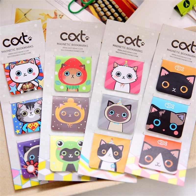 Wholesale- 3 Pcs/lot cat Cartoon Kawaii Stationery Magnetic Bookmark For Books Mark Clips Office Teacher Gift Kids School Supplies