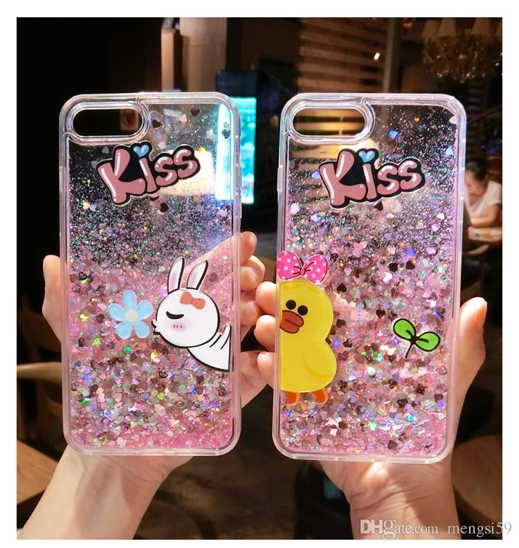 huge discount f5469 22e2a For Samsung Galaxy S6 S7 S8 Edge Plus Note 4 5 Pretty Cute Rabbit Duck Kiss  Liquid Glitter Phone Case Cover Phone Case Custom Phone Cases From ...