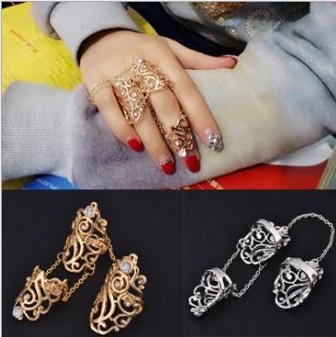 Punk Womens Knuckle Rings 3 in 1 Gothic Gold /Silver Tone Rhinestone Cross Knuckle Joint Leaf Rings Knuckle Armor Ring Sets