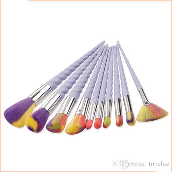 10pcs 설정 타원형 메이크업 브러쉬 아이 라이너 눈썹 메이크업 브러쉬 Maquillaje 면도 도매 # B001