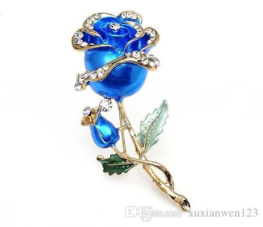 뜨거운 의류 드레스 액세서리 웨딩 신부 럭셔리 라인 석 꽃 로즈에 나 멜 브 로치 핀