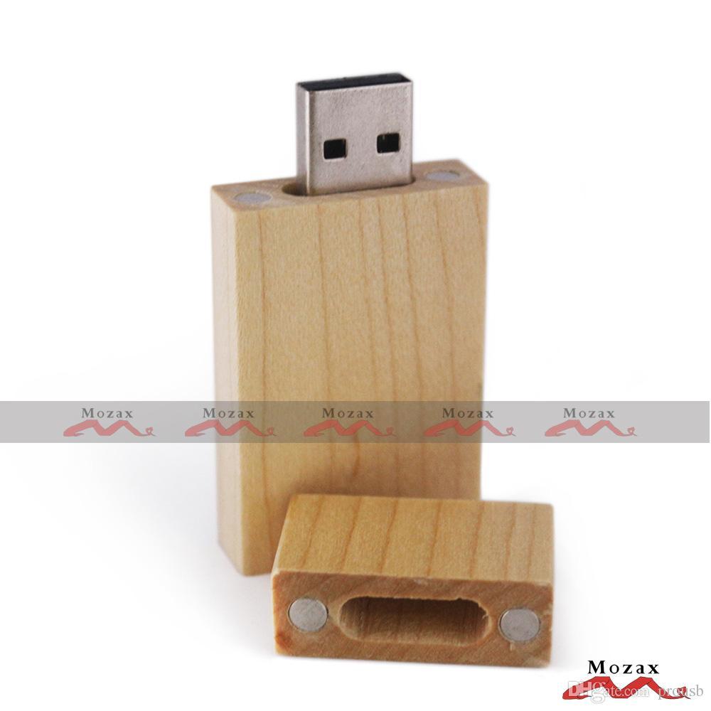 30X//Lot Free Custom Photography Block Maple Wood USB 2.0 Flash Drive+Wooden Box
