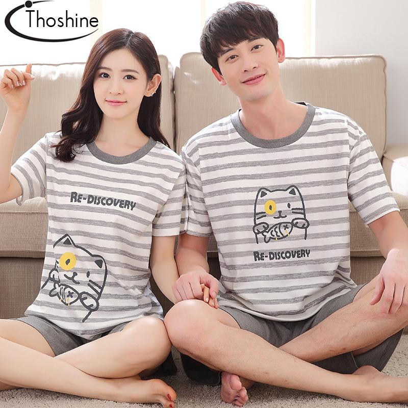 Wholesale- Thoshine 2017 Summer 100% Cotton Couple Pyjamas Sets of T-shirt & Pants Family Sleepwear Women & Men Casual Outwear Clothing