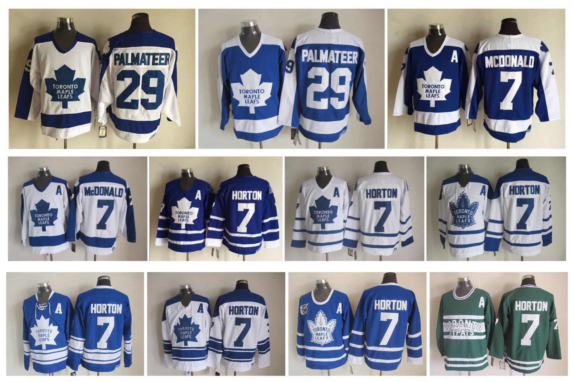 Retro Toronto Maple Leafs Hockey Jersey 7 Tim Horton 7 Lanny McDonald 29 Mike Palmateer Vintage CCM Authentic Stitched Jerseys