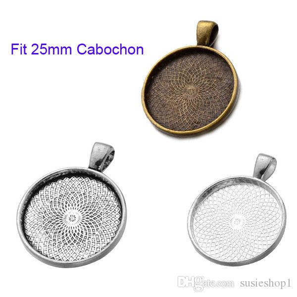 300 pezzi Base tonda Vassoio impostazione lunetta ciondolo fascino / Trovare, misura 25mm Cabochon / Foto / Cameo, Accessorio fai da te