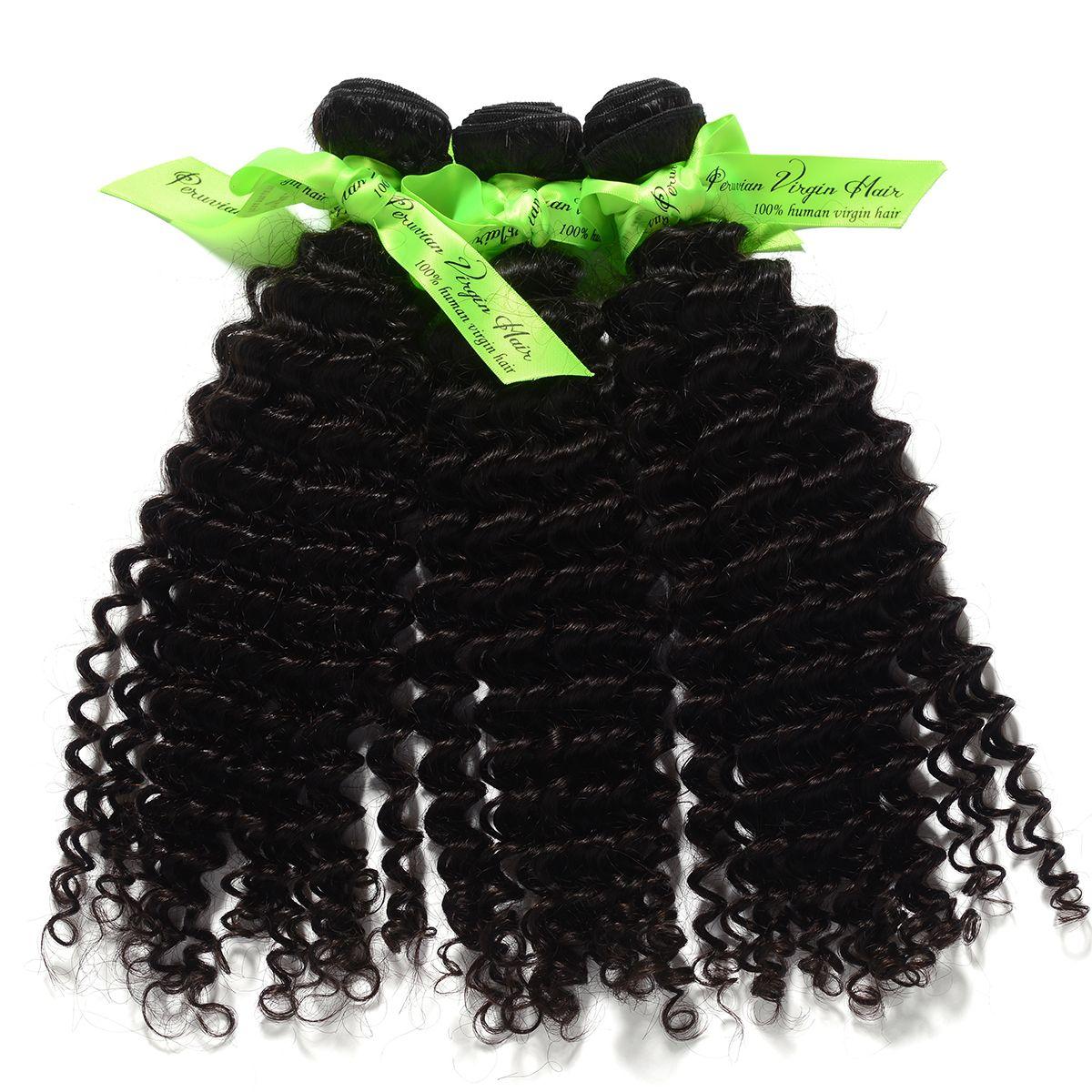 3 pçs / lote Comprimento 12 '' -28 '' Onda Profunda Peruano Virgem cabelo, tecer, cor Natural, pode ser Tingido