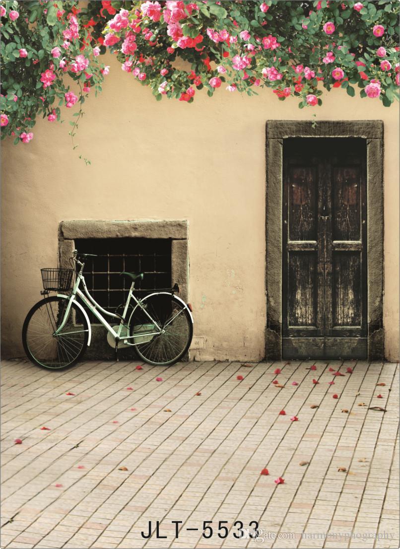 altes Haus Fahrrad Computer gedruckt Fotografie Kulissen Vinyl Tuch Hintergrund Foto für Hochzeit Kinder für Fotostudio