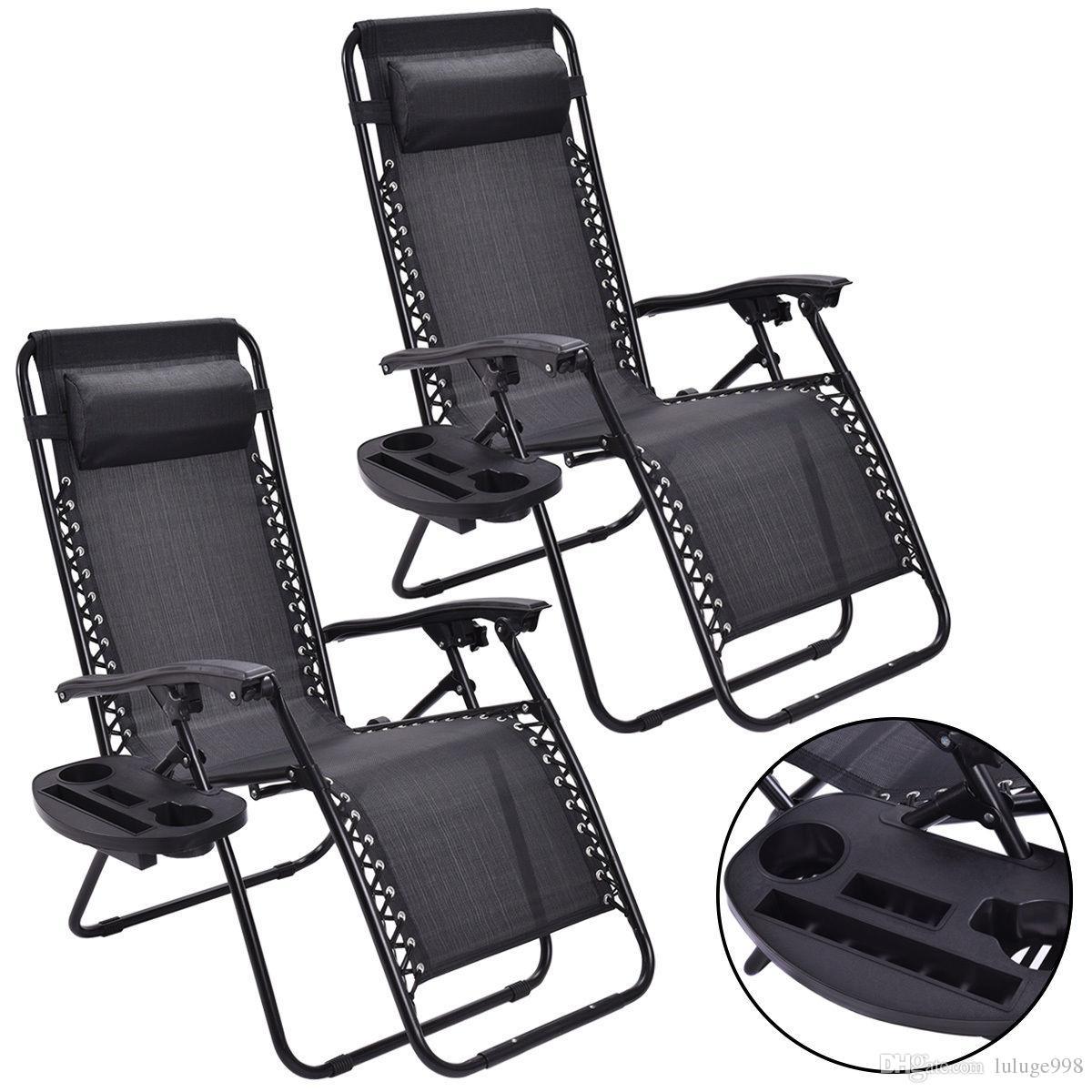 2PC Zero Gravity Chaises Lounge Patio pliant extérieur Noir Recliner W / Porte-gobelet