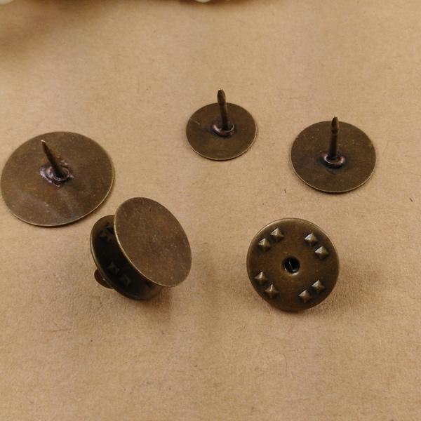 Atacado- 100pcs 8mm, 10mm, 12mm, 15mm, 18mm Plana Pad Broches de Bronze Antigo cabochon do vintage base de pin em branco configuração de jóias artesanais