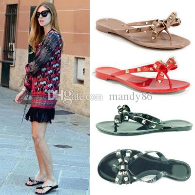 2017 women flip flops woman jelly sandals rivet summer beach shoes sapatos femininos zapatos mujer chaussure femme sapato feminino sandalias