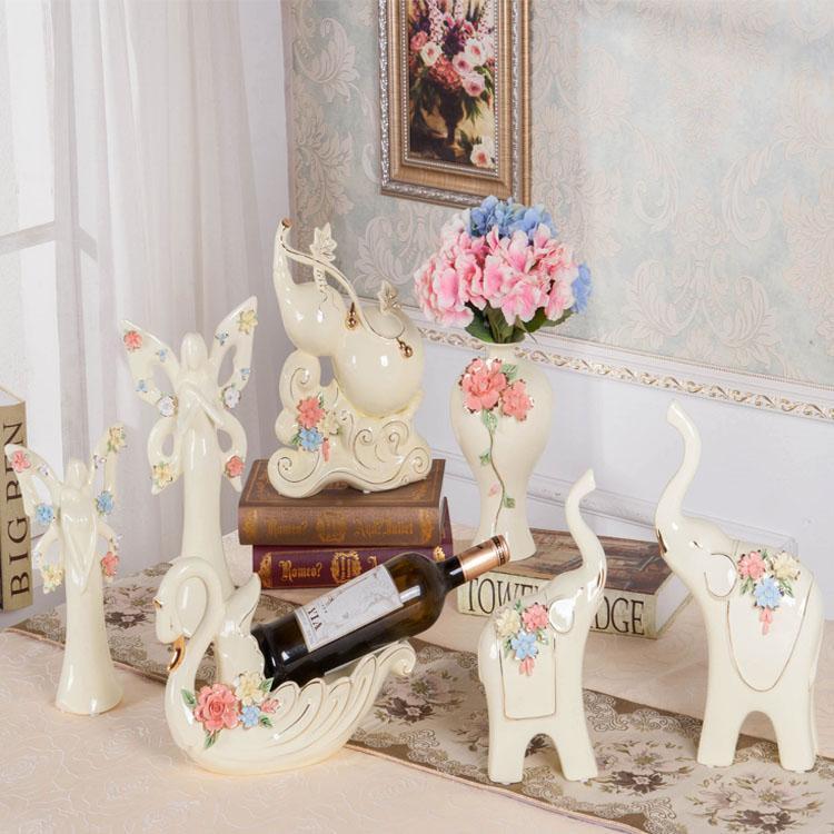 Céramique européenne chanceux gourde éléphant grand intérieur bureau ameublement décoration meuble décoration créative
