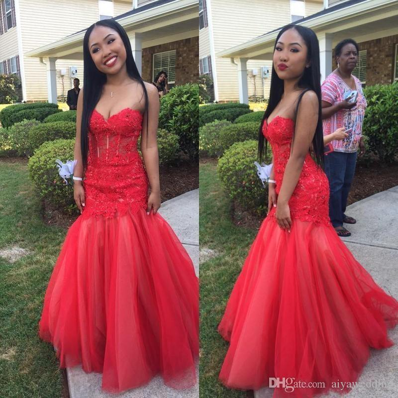 2019 New Sexy African Red Long Mermaid Prom Dresses Sweetheart Beaded Appliques Lace Evening Fiesta Party Gowns Graduation Dresses